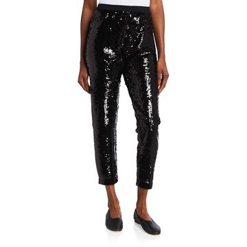 Sequined Slim Cropped Pants