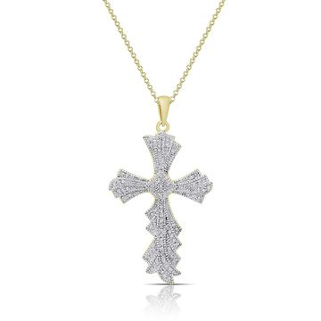 Finesque Gold over Sterling Silver 1/2ct TDW Diamond Cross Necklace