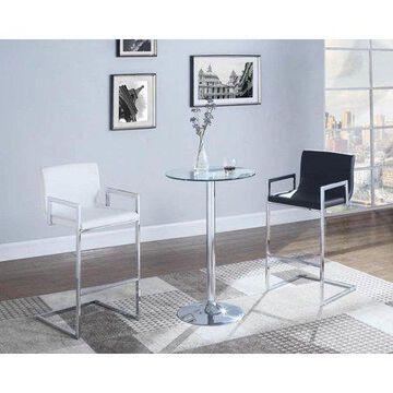 Coaster Company Glass Top Round Bar Table Chrome