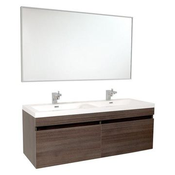 Fresca Largo Gray Oak Vanity w/ Wavy Double Sinks