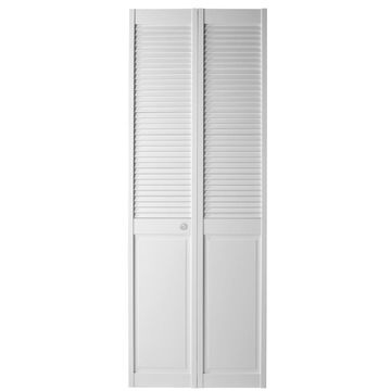 Masonite Bifold and Closet Doors White Louver Wood Pine Bifold Door Hardware Included (Common: 36-in x 80-in; Actual: 35.5-in x 79-in)