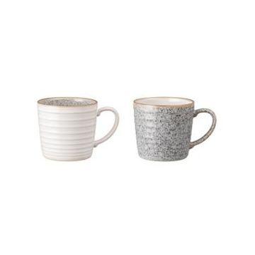 Denby Studio Craft Grey 2 Piece Ridged Mug Set