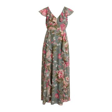 **Vila Green V-Neck Floral Print Maxi Dress