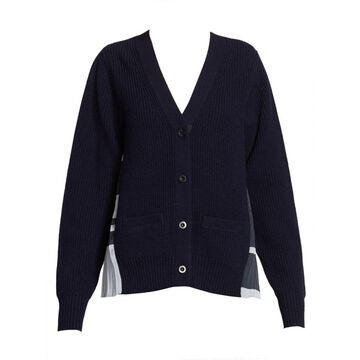 Pleated Ribbed Wool Cardigan