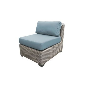TK Classics Florence Grey Wicker Outdoor Armless Sofa