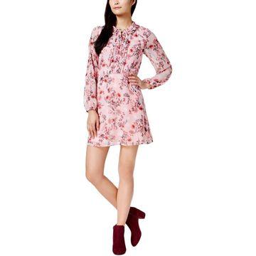 Kensie Womens Long Sleeves Mini Casual Dress