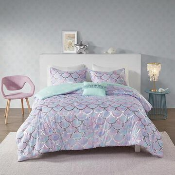 Mi Zone Phoebe Metallic Printed Reversible Comforter Set, Multicolor, Twin