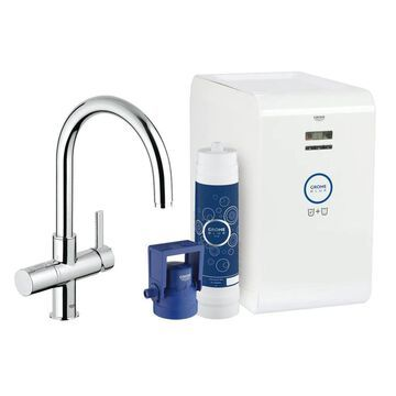 GROHE Blue Chrome 1-Handle Deck-Mount High-Arc Handle Kitchen Faucet Stainless Steel | 31251002