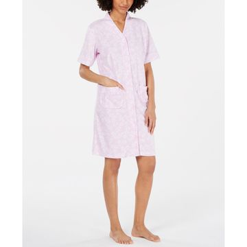 Printed Brushed Terry Snap-Front Robe