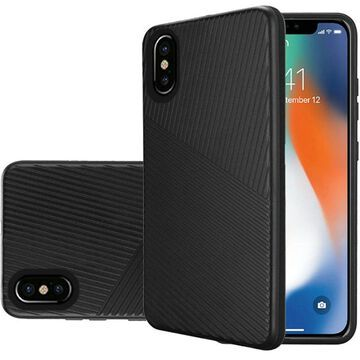 Insten Embossed Lines Hard Snap-in Case Cover For Apple iPhone XS Max, Black