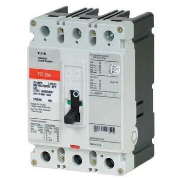 Molded Case Circuit Breaker, 90 A, 600V AC, 3 Pole, Free Standing Mounting Style, FD Series