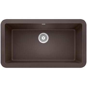 BLANCO Ikon Farmhouse Apron Front 33-in x 19-in Cafe Brown Single Bowl Kitchen Sink   401896