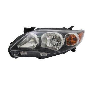 Headlight Depo - 11-13 Toyota Corolla S/XRS USA Built Headlamp Assembly LEFT HAND / DRIVER SIDE Black Bezel CAPA Certified