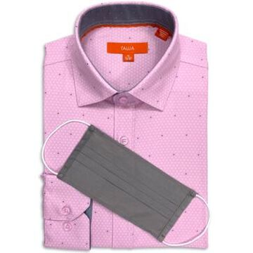 Tallia Men's Slim-Fit Non-Iron Performance Stretch Dot-Print Dress Shirt with Pleated Face Mask