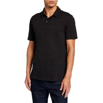 Men's Texture Stripe Polo Shirt