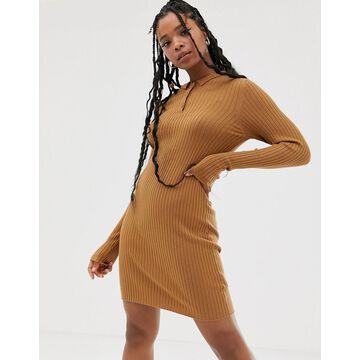 Noisy May knitted polo shirt dress in camel-Brown