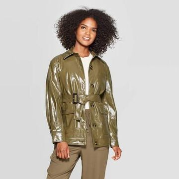 Women's Long Sleeve Turnover Collar Front Button-Down Patent Cargo Jacket - Who What Wear Green