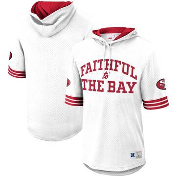Mitchell & Ness San Francisco 49ers White Faithful Unbeaten Mesh Short Sleeve Pullover Hoodie