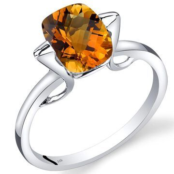 Oravo 14k White Gold 2ct TGW Citrine Solitaire Ring
