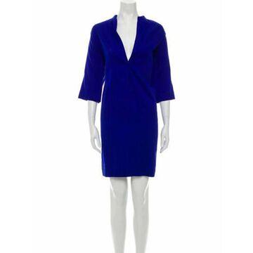 V-Neck Knee-Length Dress Blue