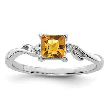 Sterling Silver Rhodium-plated Diamond and Citrine Square Ring by Versil (8)