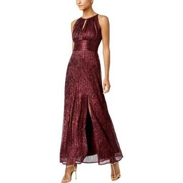 R & M Richards Womens Halter Metallic Evening Dress
