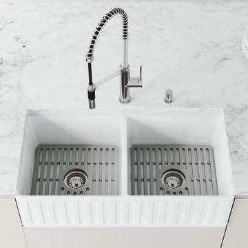 VIGO Matte Stone Farmhouse Apron Front 36-in x 18-in Matte White Double Equal Bowl Workstation Kitchen Sink