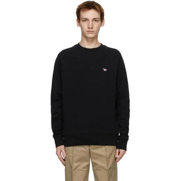 Maison Kitsune Black Tricolor Fox Clean Sweatshirt