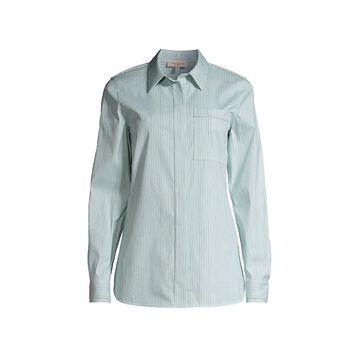 Lafayette 148 New York Ruxton Striped Stretch-Poplin Shirt