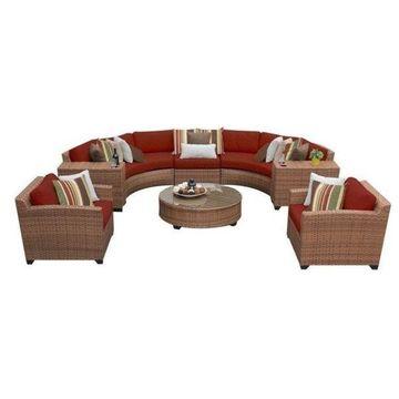 TK Classics Laguna 8-Piece Outdoor Wicker Sofa Set, Terracotta