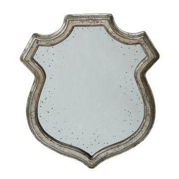 A&B Home Empire 20-Inch x 23.5-Inch Distressed Crest Mirror in Silver