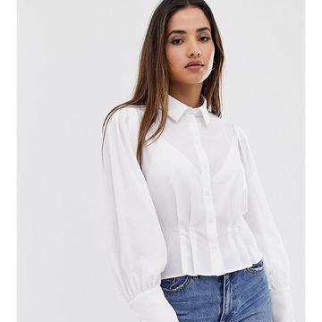 Vila volume sleeve waist detail shirt-White