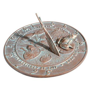 Outdoor Sundial, Frogs, Copper Verdi
