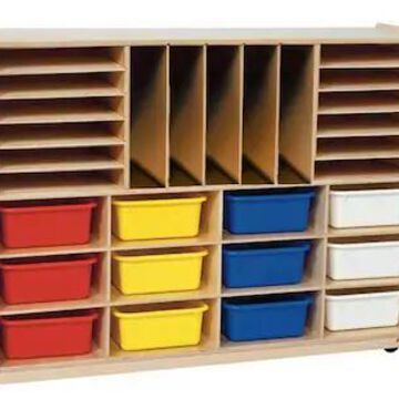 Wood Designs Multi-Sectioned Storage Center With 12 Assorted Rectangular Trays, Birch | Quill