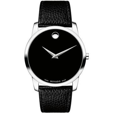 Movado Men's 0607012 'Museum' Black Leather Watch