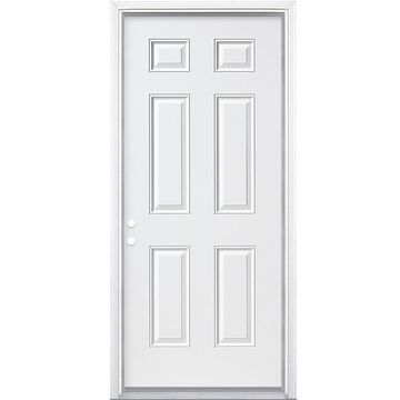 Masonite 32-in x 80-in Steel Right-Hand Inswing Primed Prehung Single Front Door with Brickmould in White   740786