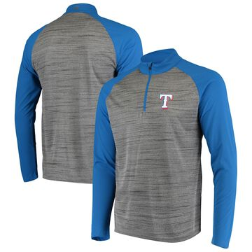 Levelwear Texas Rangers Gray/Royal Vandal Raglan Quarter-Zip Pullover Jacket