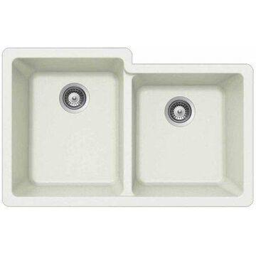 Houzer M-175U CLOUD Quartztone Series Granite Undermount 60/40 Double Bowl Kitchen Sink, White