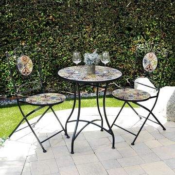 Alpine Corporation Indoor/Outdoor Mediterranean Tile Design Set Table and Chairs Patio Seating