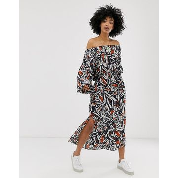 Weekday printed off shoulder long sleeves maxi dress in navy