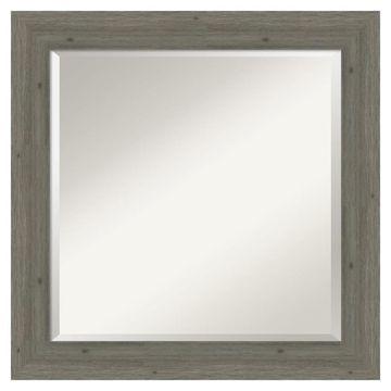 Amanti Art Fencepost Grey Frame Collection 24.62-in Distressed Grey Rectangular Bathroom Mirror