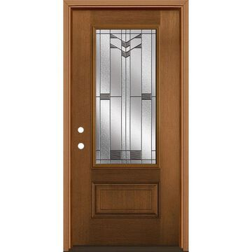 Masonite Frontier 36-in x 80-in Fiberglass 3/4 Lite Right-Hand Inswing Woodhaven Stained Prehung Single Front Door with Brickmould in Brown