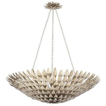 Crystorama Broche 8-Light Antique Silver Transitional Chandelier   519-SA
