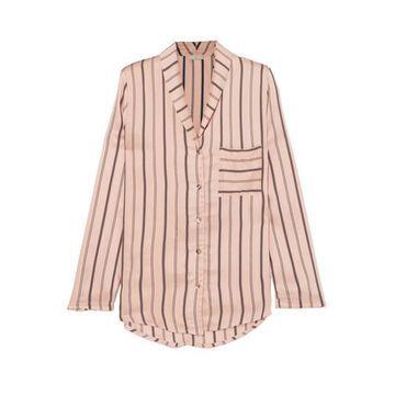 Hanro - Malie Striped Satin-pique Pajama Top - Blush