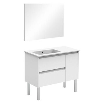 Ambra 90F Complete Vanity Unit, Gloss White, With Mirror