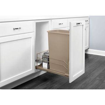 Rev-A-Shelf 53WC-1550SCDM-112 Single 50 qt. Pull-Out Champagne Waste Container w/Soft-Close Slides