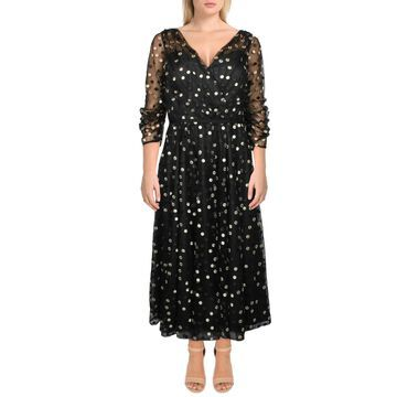 Carmen Marc Valvo Womens Cocktail Dress Burnout Faux-Wrap - Black/Gold