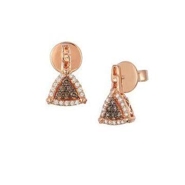 Chocolatier 14K Strawberry Gold, Vanilla & Chocolate Diamonds Triangle Drop Earrings