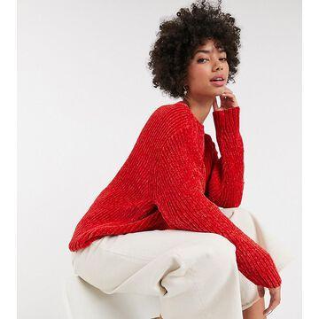 Monki chenille crew neck sweater in red-Gray