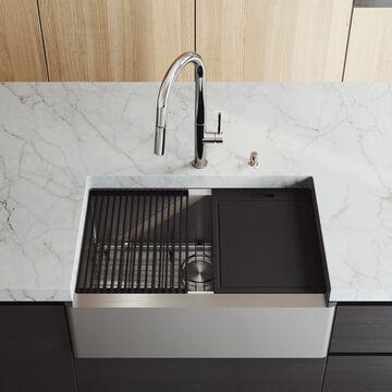 VIGO Oxford Farmhouse Apron Front 30-in x 20.5-in Stainless Steel Single Bowl Workstation Kitchen Sink | VGS3020FA